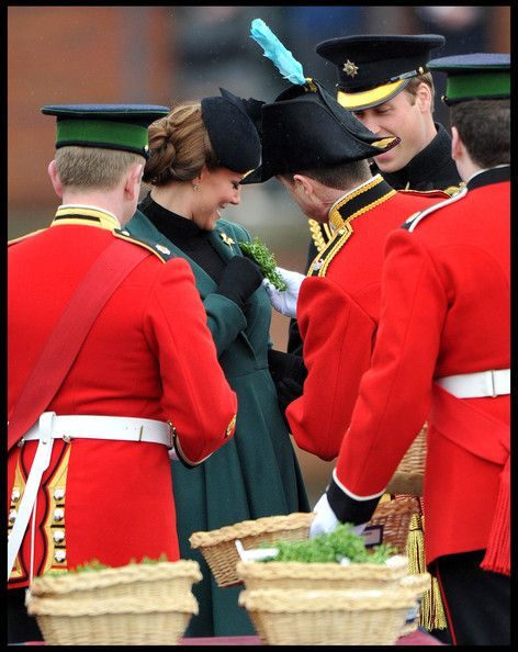 Catherine, Duchess of Cambridge attends The Irish Guards St Patricks Day Parade, at Mons Barracks, where The Duchess presented the traditional sprigs of shamrock, in London, March 17, 2013.