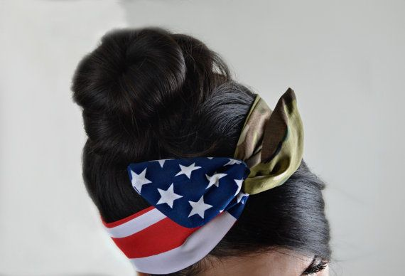 US Army Multicam headband, American flag Camouflage Dolly bow head band, American flag head band, hair accessory made with navy blue and white stars