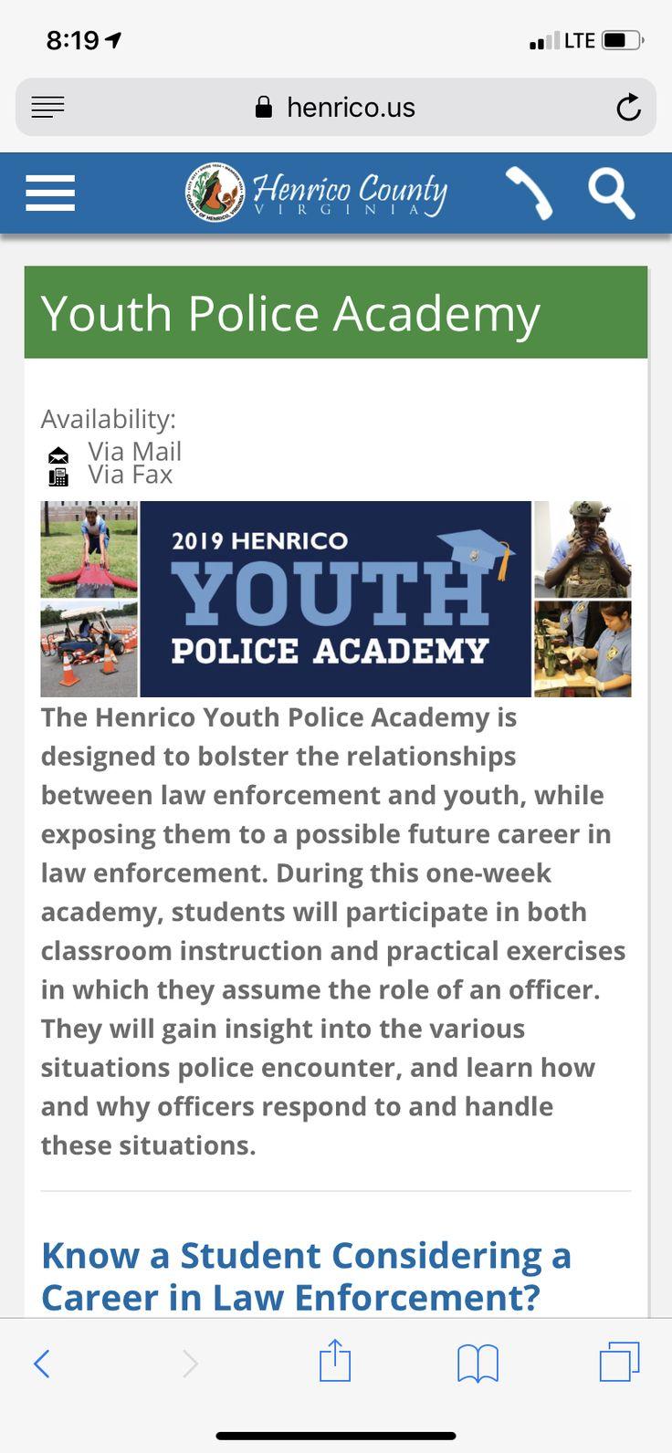 Henrico cty Future career, Police academy, Henrico county