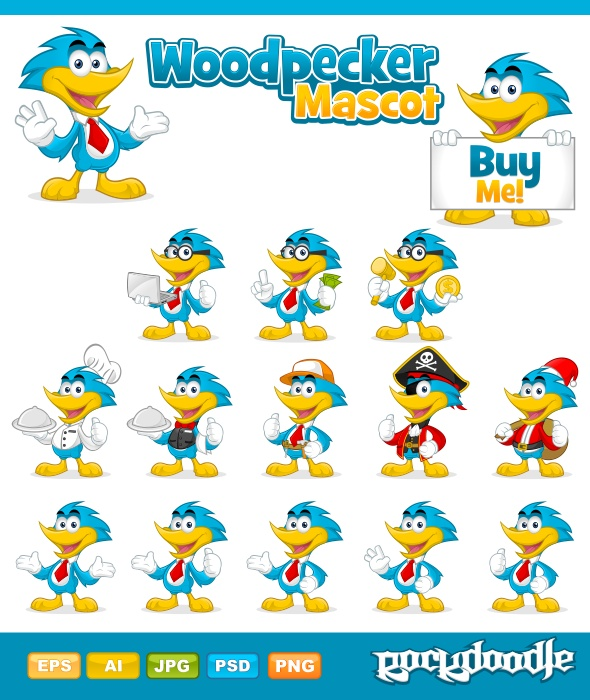 Woodpecker Mascot high-quality detailed mascot available in 15 awesome pose in seasonal and activity costumes.