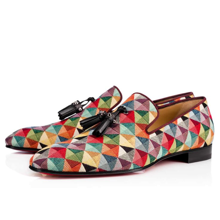 CHRISTIAN LOUBOUTIN Dandelion Tassel Flat Multicolor Arlequin Fabric - Men Shoes - Christian Louboutin. #christianlouboutin #shoes #