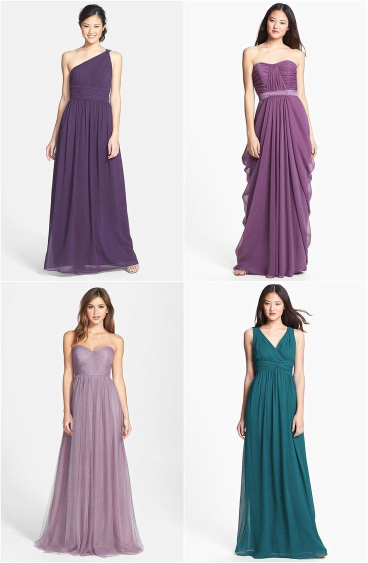 Stunning mismatched purple and jade bridesmaid dresses! https://www.thebridelink.com/blog/2014/08/15/mismatched-bridesmaid-dress-ideas-for-fall-weddings/