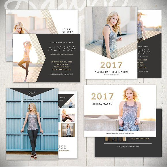 Graduation Card Templates - BL5x7Set by Laurie Cosgrove Design on @creativemarket