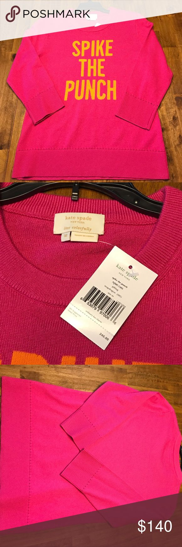 Selling this Kate Spade Medium Pink Sweater Spike the Punch New on Poshmark! My username is: pickypocahontas. #shopmycloset #poshmark #fashion #shopping #style #forsale #kate spade #Sweaters