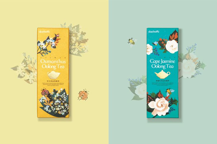 Illustrated and gold foil packaging developed by Victor Design for tea brand Daebeté's new floral Scented Tea range