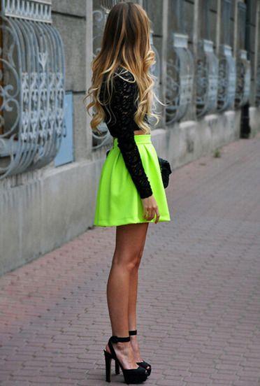 Neon Green Pleated Flare Skirt | victoriaswing