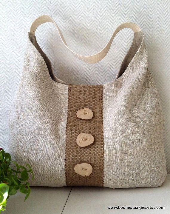 recycled antique linen shoulder bag