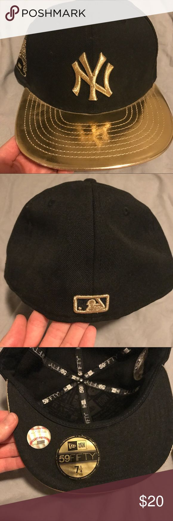New Era Black & Gold New York Yankees Baseball Cap New Era Yankees baseball cap. Size 7 1/4. 59fifty. New Era Accessories Hats