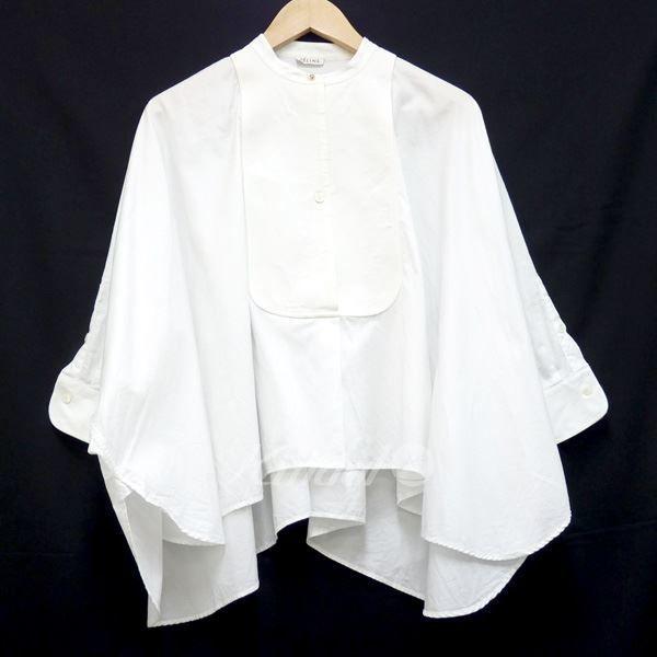 セリーヌ【中古】CELINEノーカラーデザインシャツ ホワイト サイズ:36 【送料無料】 【250714】 batwing blouse (fr 36) • céline 27,500円