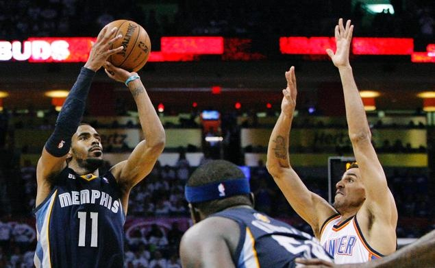 Mike Conley Jr takes a jumpshot over Thabo Sefolosha to end the series against the Thunder.