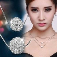 Wish | Fashion Women's 925 Silver Double Layer Chain Inlaid Rhinestone Transfer Beads Pendant Necklace Lucky Jewelry