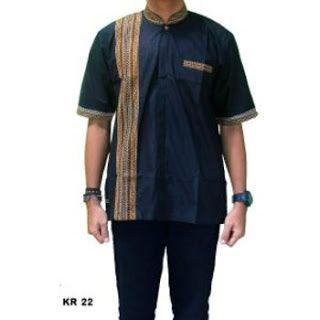 Baju Koko Batik Kombinasi Polos Lengan Panjang Dan Pendek Terbaru