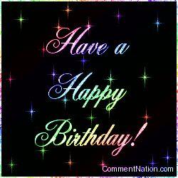 Happy Birthday Glitter Words | Happy Birthday Rainbow Stars