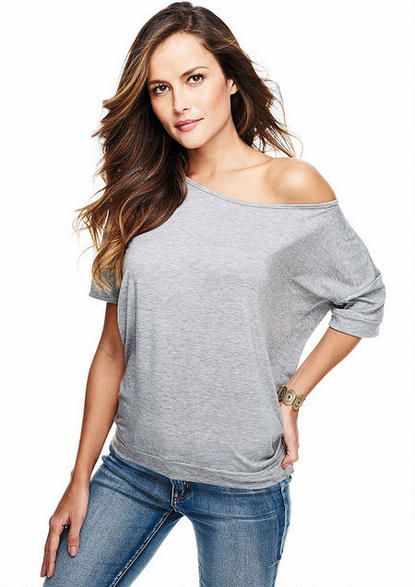 Off-Shoulder Banded Cuff Tee - Plus Size Tops - Alloy Plus - Alloy Apparel