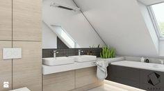 (Sochaczew) Projekt domu jednorodzinnego 8 - Średnia łazienka na poddaszu w domu jednorodzinnym z oknem, styl nowoczesny - zdjęcie od BAGUA Pracownia Architektury Wnętrz