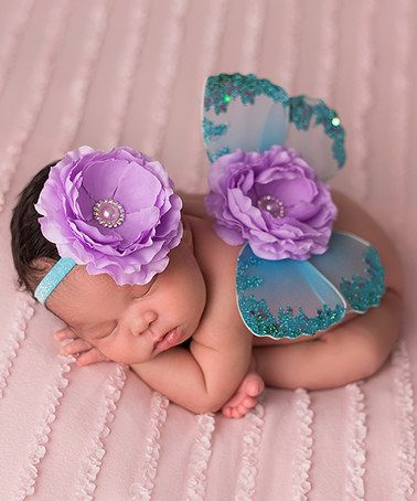 Another great find on #zulily! Turquoise & Lavender Rosette Headband & Butterfly Wings #zulilyfinds