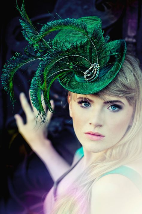 Not a fascinator but a fascinating hat! SALE Emerald Green Mini Straw Accessory Top by EllaGajewskaHATS