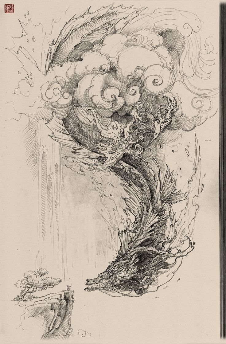 Chinese dragon pencil drawing, Zhelong XU on ArtStation at https://www.artstation.com/artwork/rWgkL