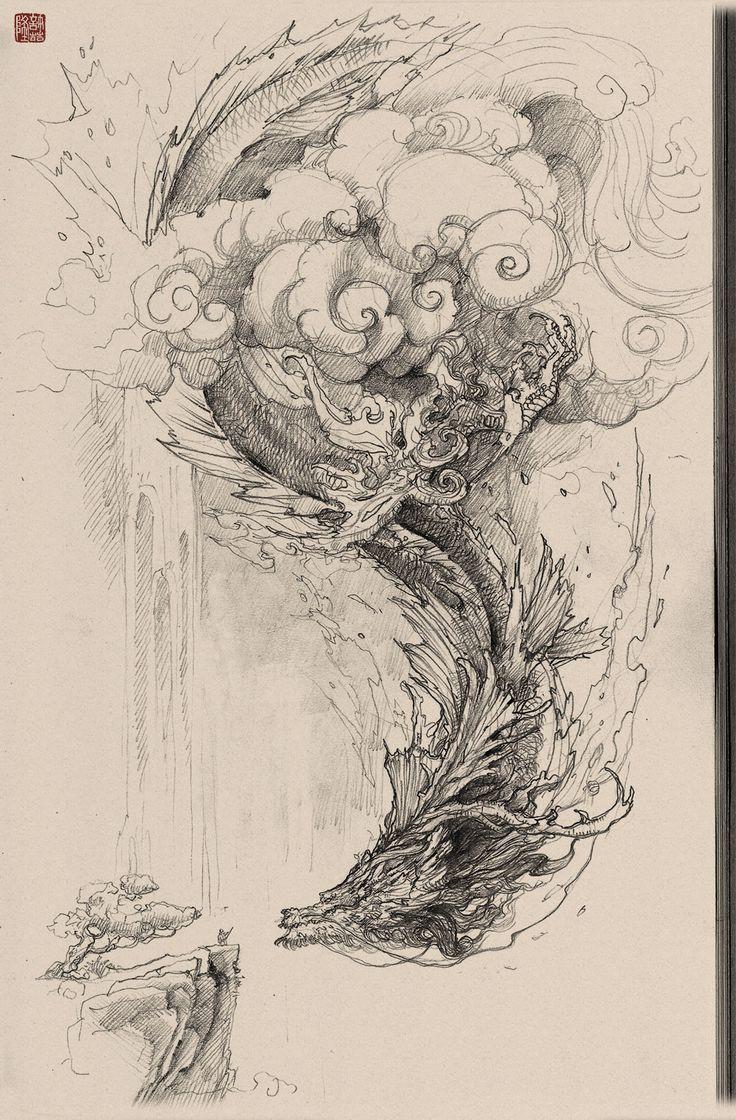 Chinese dragon pencil drawing, Zhelong XU on ArtStation at https://www.artstation.com/artwork/rWgkL