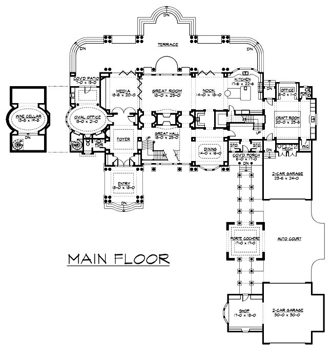 First Floor Plan Of Colonial Luxury House Plan 87644
