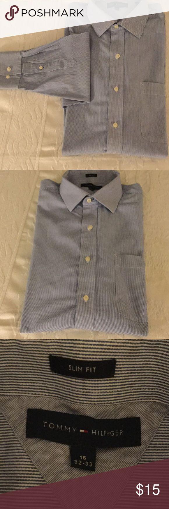 Tommy Hilfiger Dress Shirt, Size 16, 32-33 Tommy Hilfiger Blue Pin Stripe Shirt, Size 16, 32-33, gently worn Tommy Hilfiger Shirts Dress Shirts