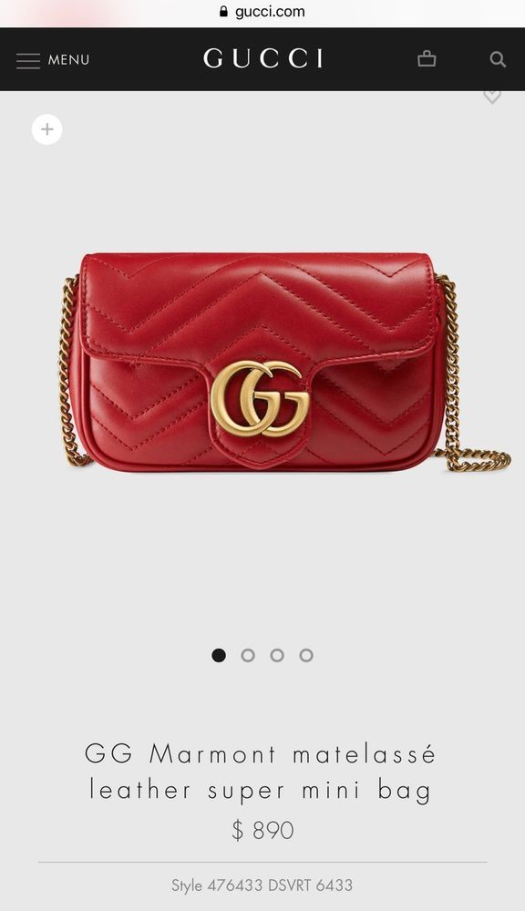 c83acfbbbf06 100% AUTHENTIC. GUCCI MARMONT MATELASSÉ LEATHER SUPER MINI BAG. COLOR RED  #purses #fashion
