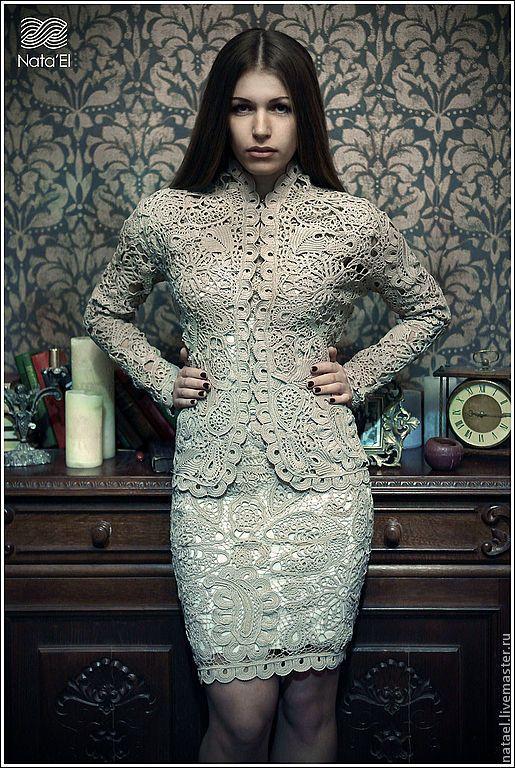 """Купить Костюм """"Мадмуазель """" - бежевый, орнамент, костюм, вязаный костюм, костюм женский, платье"""