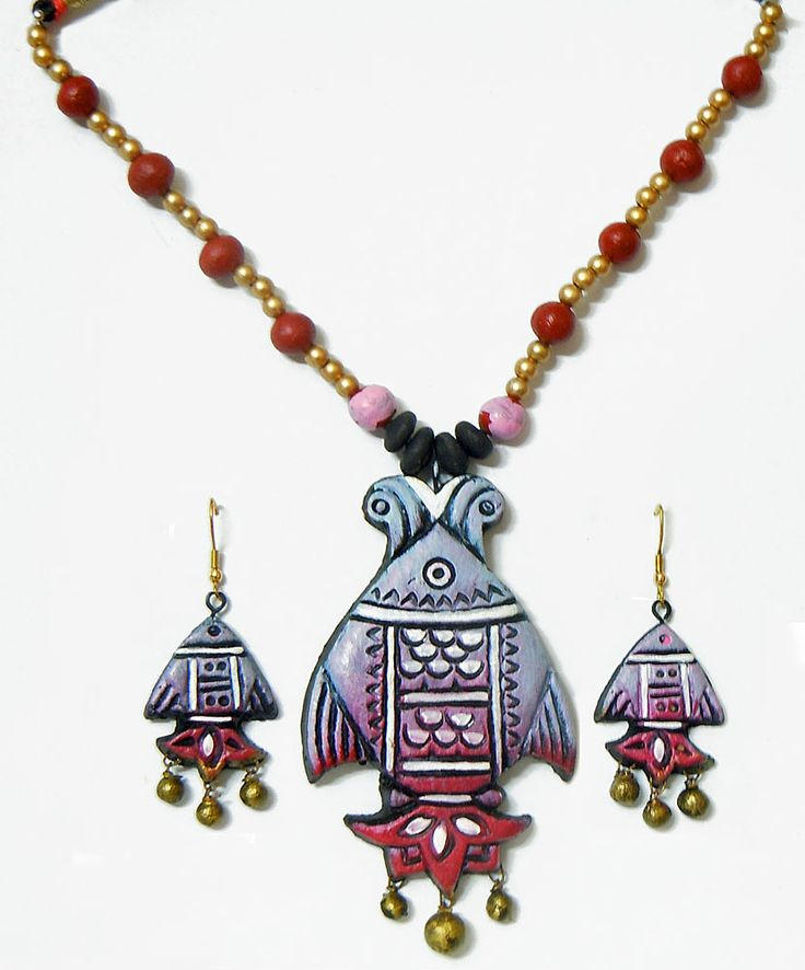 Hand Painted Mauve with Pink Terracotta Necklace, Fish Pendant and Earrings (Terracotta)