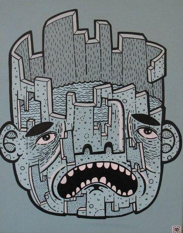 """Arguing All The Time"" 11"" x 14""Acrylic on Board Nick Brunt, Urban Folk Artist www.argylefineart.blogspot.com"