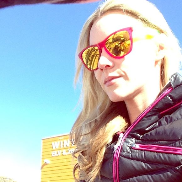 Oakley Frogskins Sunglasses neon pink & yellow Oakley Frogskins Sunglasses neon pink & yellow. Scratches on the lens shown in photo. Mirrored lenses. Apres ski ☀️ Oakley Accessories Sunglasses