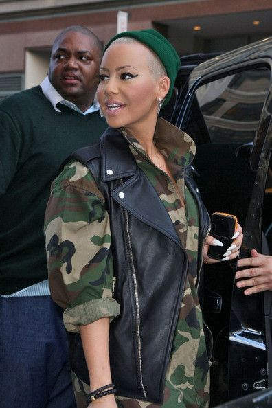 Amber Rose in a Camo Jumpsuit
