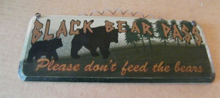 8x3 country primitive Black Bear Pass Please Don't Feed Bears Lodge decor sign