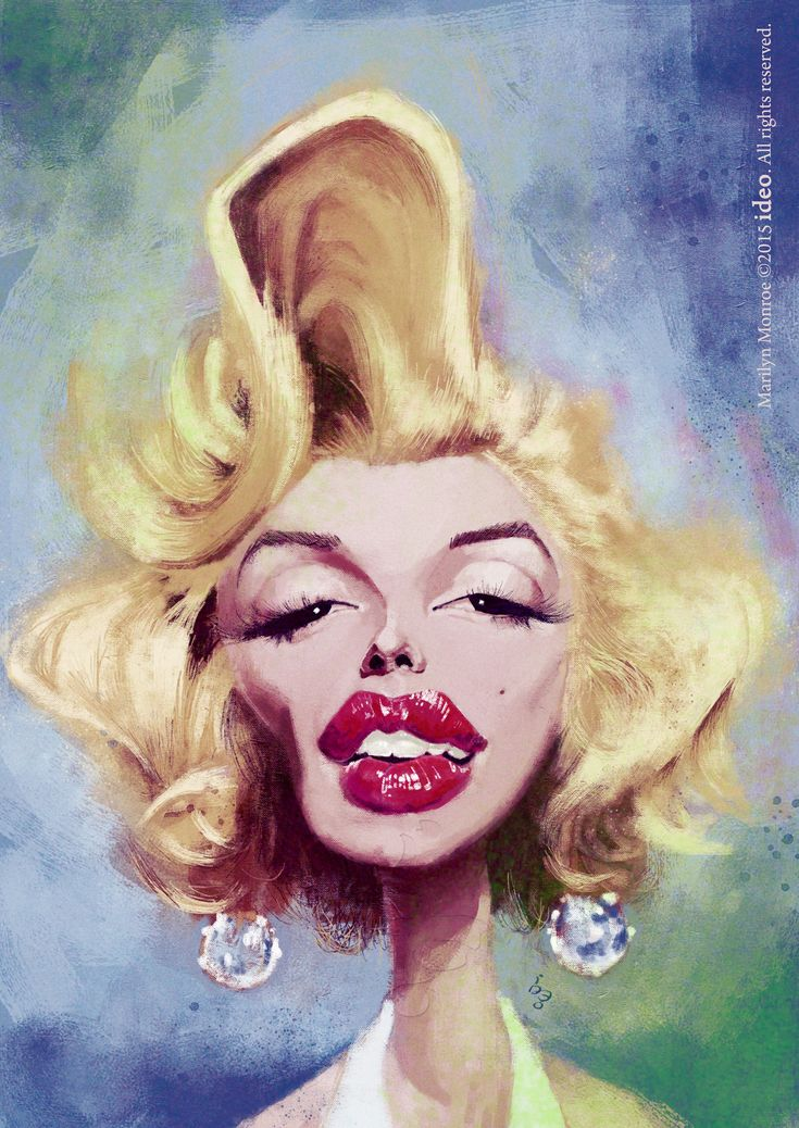 Artist: Cyril Brenner-loegel / Caricature of Marilyn Monroe made by ideo with Photoshop CS6 and Wacom Intuos 5. /  /This image first pinned to Marilyn Monroe art board here: https://www.pinterest.com/fairbanksgrafix/marilyn-monroe-art/ #Art #MarilynMonroe