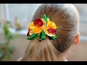 МК Канзаши Резинка для волос Анютины глазки /DIY Kanzashi Flowers - YouTube