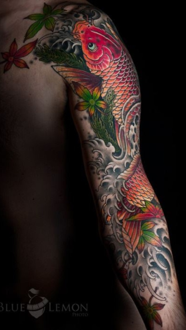 Beautiful koi sleeve #tattoo