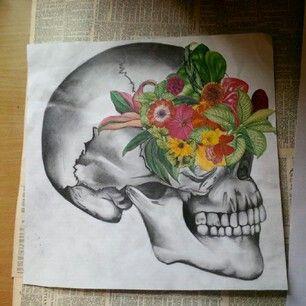 Skull drawing / collage. (Molly Burnip) www.mollyburnipart.com