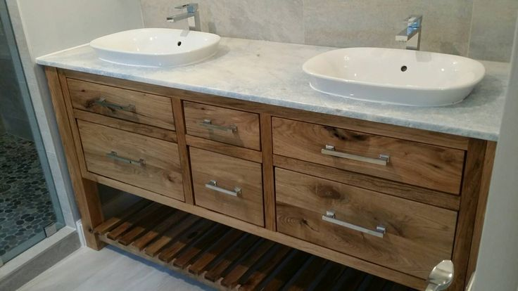 White walnut vanity with granite top and semi-recessed vessel sinks. by NEFStudio on Etsy https://www.etsy.com/listing/412709734/white-walnut-vanity-with-granite-top-and