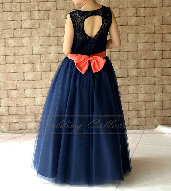 Navy Blue Lace Flower Girl Dress Floor Length by Weddingcollection