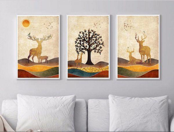 Golden Deer Geometric Peaks Big Trees Decorative Painting Paint On Canvas 3 Pieces Unframed Digital Wall Art Wall Art Dec Minimalist Animal