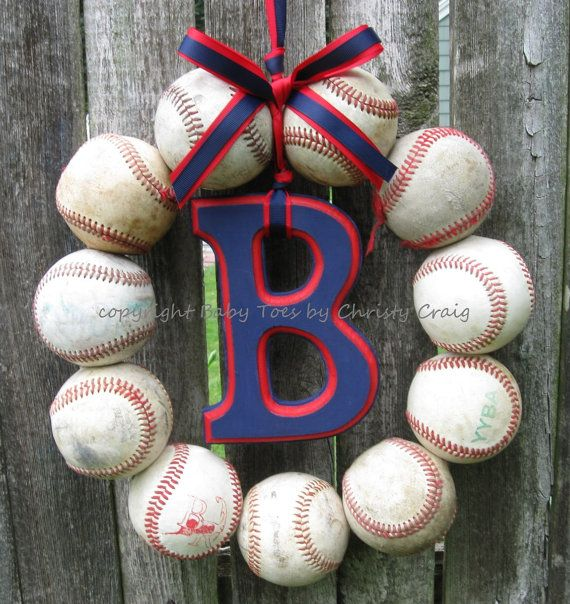 The Original Boston Red Sox Baseball Wreath by BabyToesbyChristy