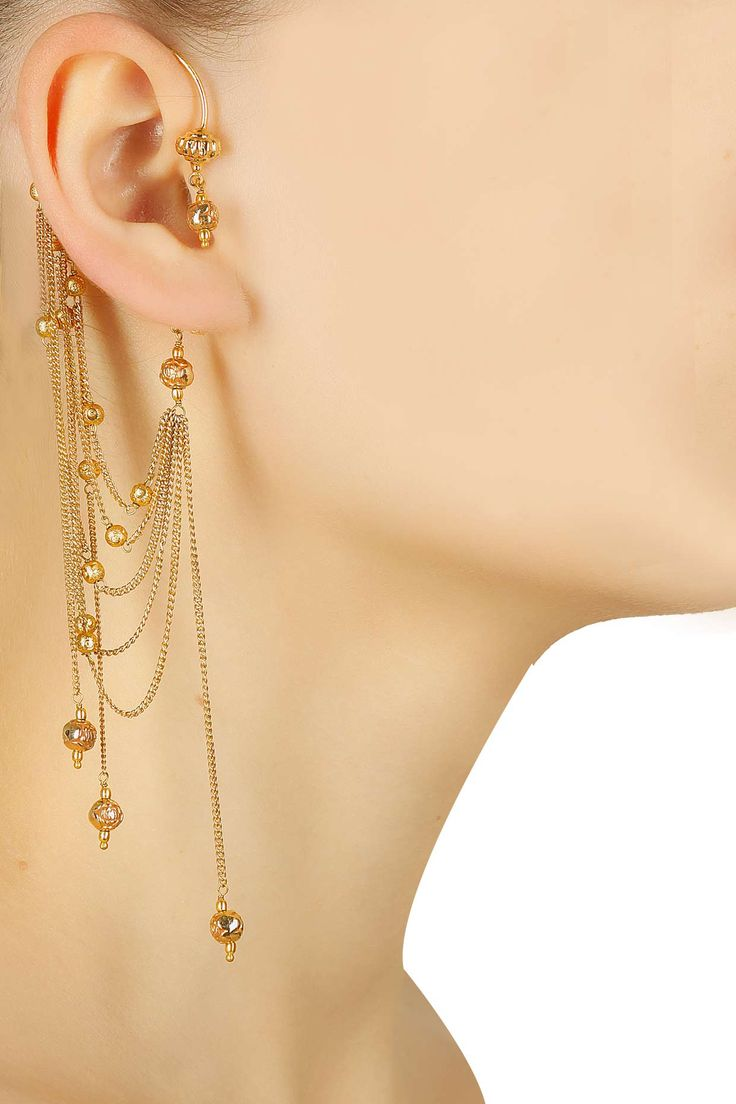 Gold finish ball chain earcuff available only at Pernia's Pop-Up Shop.