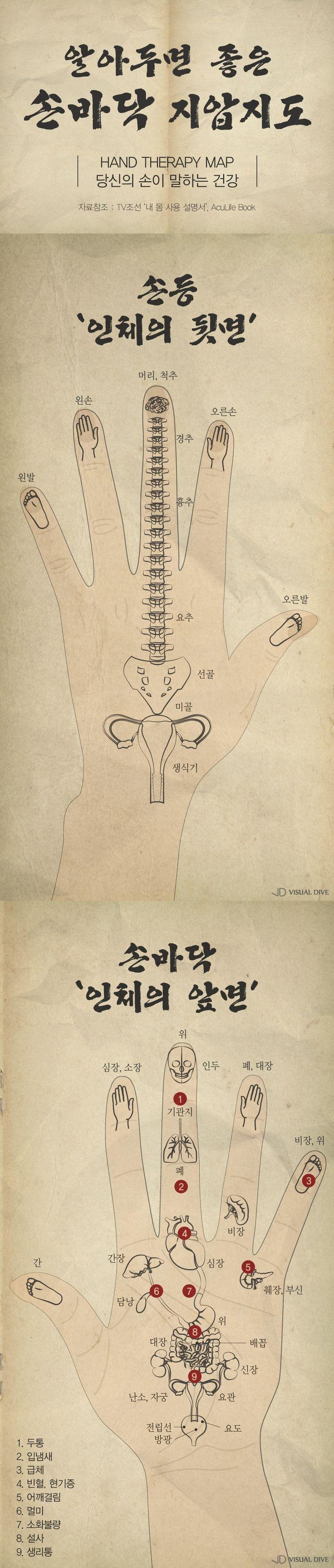 알아두면 좋은 '손바닥 지압도' [인포그래픽] #hand_therapy_map / #infographic ⓒ 비주얼다이브 무단 복사·전재·재배포…
