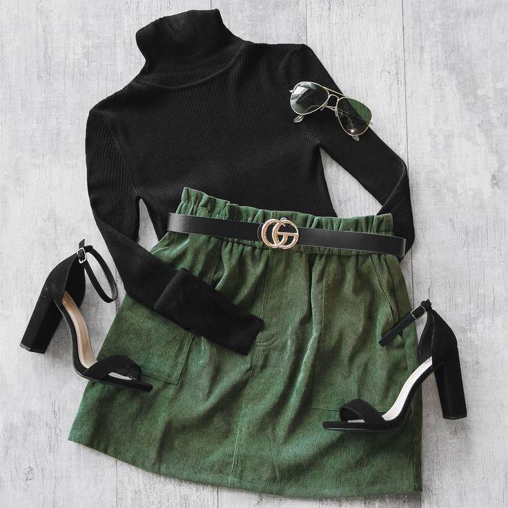 Jameson Olive Corduroy Skirt