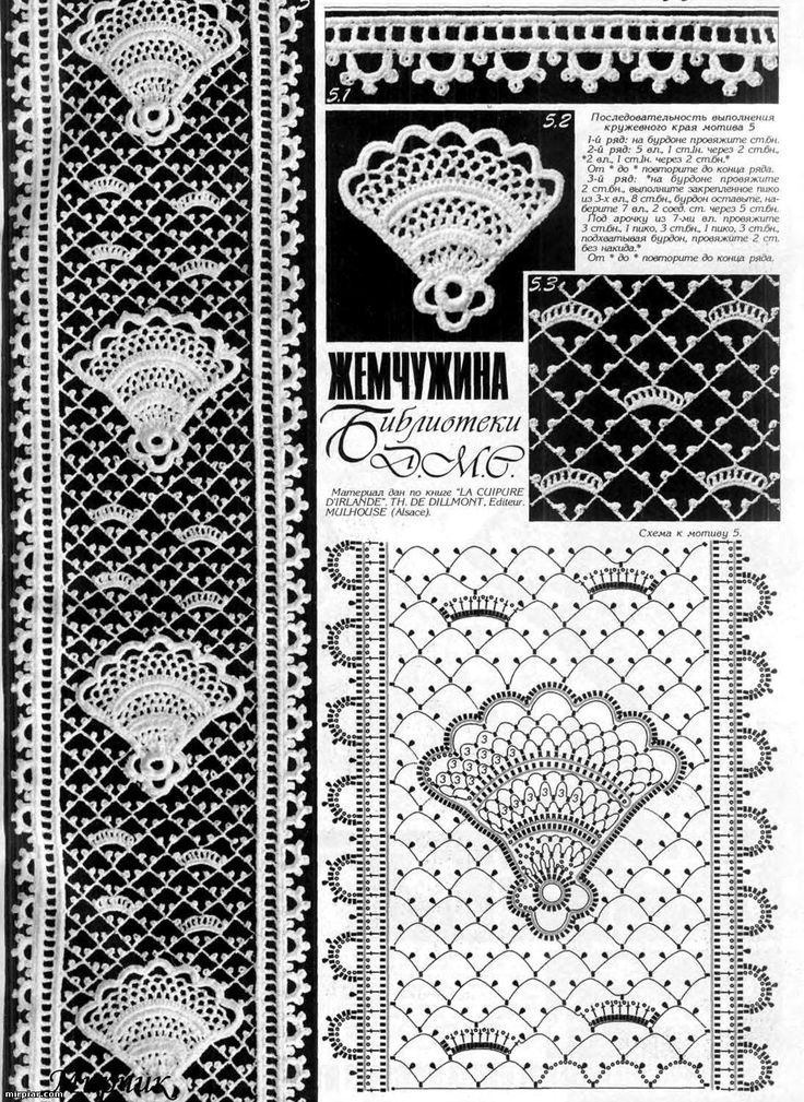 Beautiful Irish crochet lace edging / insert wit matching lace ground stitch. Fan element appears to be crocheted separately. Duplet magazine
