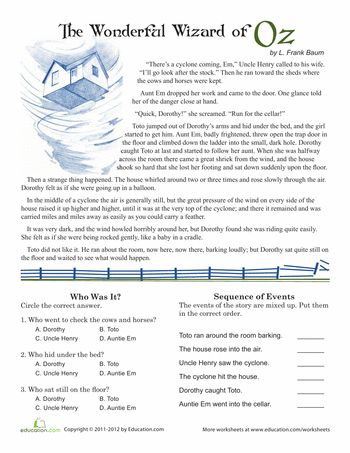 Printables 5th Grade Reading Worksheet 1000 images about education on pinterest reading comprehension wizard of oz 5th grade