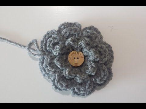 bloem haken / crochet flower - YouTube