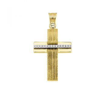 Σταυρός  χρυσός  ζιργκόν  Κ14  ΚΤΑ718