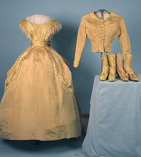 Wedding dress with matching boots and bodice, ca 1865
