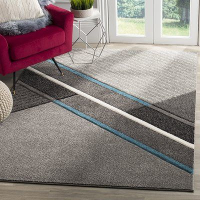 "Orren Ellis Anne Power Loomed Gray/Teal Area Rug Rug Size: Square 6'7"" x 6'7"""