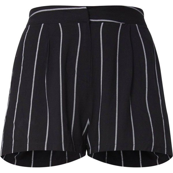 Black Pinstripe Suit Shorts (€28) ❤ liked on Polyvore featuring shorts and pinstripe shorts